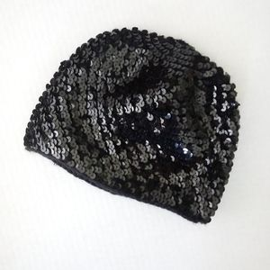 Dreampop Black Sequined Kid's Beanie Skull Cap OS